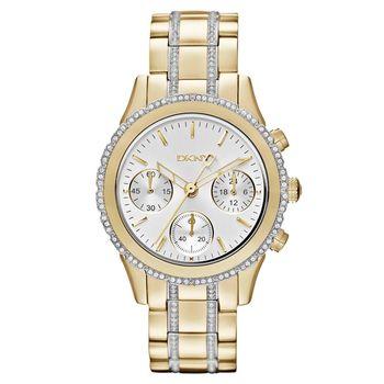 DKNY 雅緻秋冬晶鑽計時腕錶 銀x金 38mm NY8707
