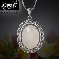 KMK天然寶石~珠圓玉潤~古鏡~純正 天然白玉髓~項鍊