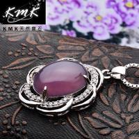 KMK天然寶石~花開富貴~印尼爪哇島天然紫玉髓~項鍊
