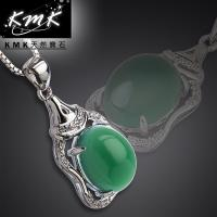 KMK天然寶石【吉祥殿堂】南非辛巴威天然綠玉髓-項鍊
