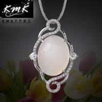 KMK天然寶石~典雅~雲~純正 天然白玉髓~項鍊