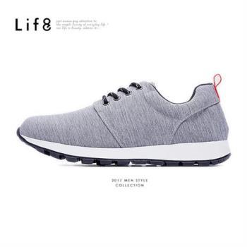 Life8-MIT。刷白織布。除臭鞋墊。慢跑運動鞋-黑色-09421