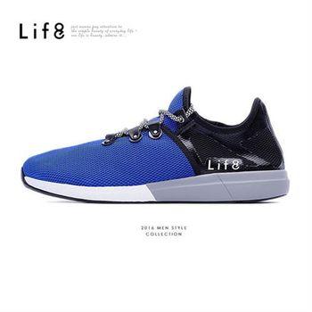 Life8-MIT。輕量。彈性網布。襪套式。機能運動鞋-09386-藍色