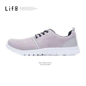 Life8-MIT。斜紋絨布。360゜超彈力。雅痞太空運動鞋-灰色-09483