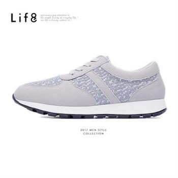 Life8-MIT。針織布。除臭鞋墊。混搭慢跑運動鞋-灰色-09425