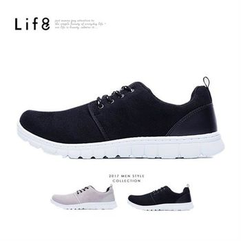 Life8-MIT。斜紋絨布。360゜超彈力。雅痞太空運動鞋-黑色-09483