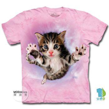 【摩達客】(預購)(男童/女童)美國進口The Mountain 粉紅飛天撲小貓 純棉環保短袖T恤