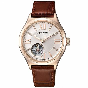 CITIZEN xC 星辰 HEBE廣告雙鏤空時尚機械女錶-咖啡X玫瑰金/34mm/PC1003-07A
