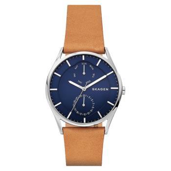 SKAGEN Holst 日曆時尚手錶 藍x棕 40mm SKW6369