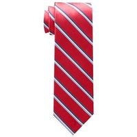 【Tommy Hilfiger】2017男時尚Core紅色系條紋真絲領帶(預購)