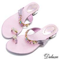 【Deluxe】粉嫩繽紛寶石水鑽低跟拖鞋(粉)-8550-12