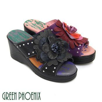 【GREEN PHOENIX】多彩立體綻放花朵壓克力鑽全真皮楔型氣墊拖鞋-紫色、黑色