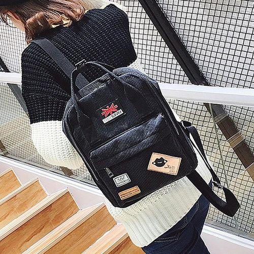 Acorn橡果-韓版休閒旅遊絨布後背包6314(黑色)