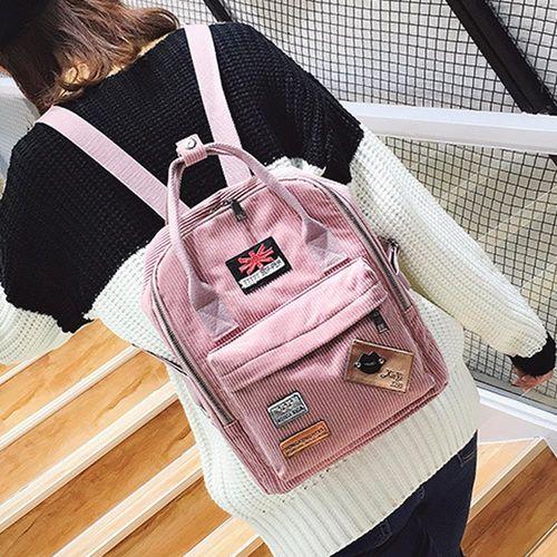Acorn橡果-韓版休閒旅遊絨布後背包6314(粉色)
