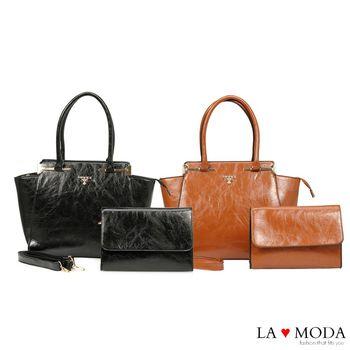 La Moda 出遊首選超大容量油紋面料子母包托特包兩件組 (共2色)