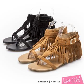 Love Girl T字環踝流蘇小坡跟夾腳涼鞋