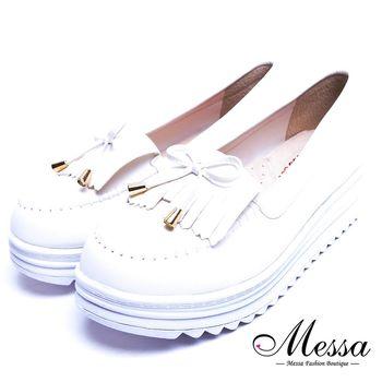 Messa米莎專櫃女鞋- MIT可愛流蘇蝴蝶結莫卡辛內真皮厚底鬆糕鞋-四色