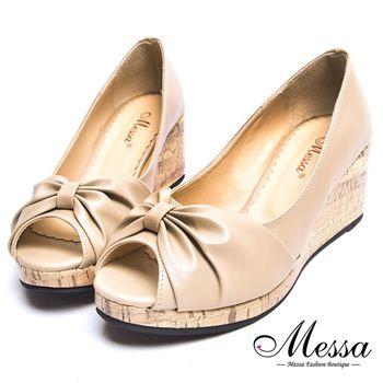 Messa米莎專櫃女鞋- MIT優雅扭結內真皮楔型魚口鞋-二色