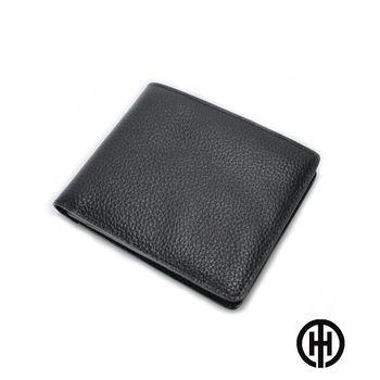 T.H.男仕館 頭層牛皮6卡透明短夾(黑色)