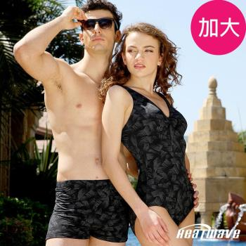 Heatwave熱浪 加大男泳褲 四角平口-黑影媚泳-205