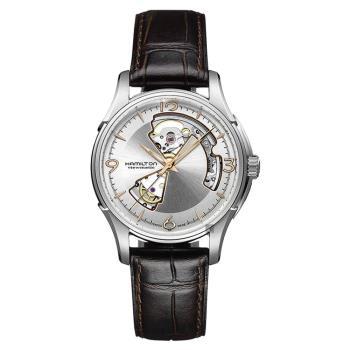 Hamilton Jazzmaster 鏤空機械腕錶 銀x咖啡 40mm H32565555