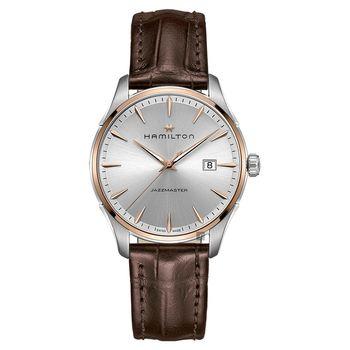 Hamilton Jazzmaster 爵士型男腕錶 銀x咖啡皮帶 40mm H32441551