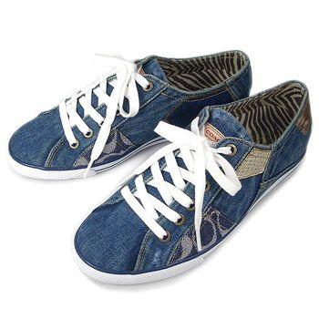 COACH 單寧拼接帆布鞋 (7.5)