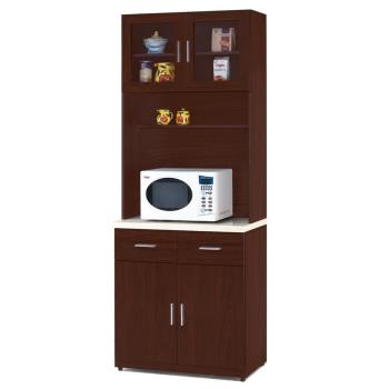 【顛覆設計】碩威2.7尺胡桃色石面餐櫃全組(上+下)