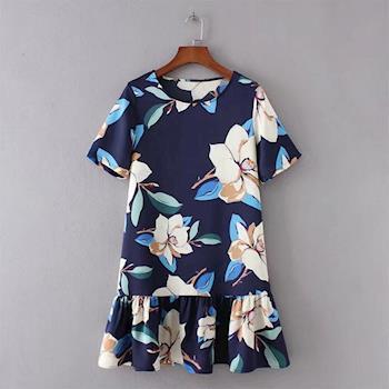 BubbleCoCo 優雅花朵荷葉裙襬短袖洋裝EA438