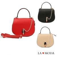 La Moda 吸引目光可愛口紅造型釦飾肩背包宴會包小包 (共3色)