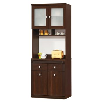 【顛覆設計】克雷布2.7尺胡桃色餐櫃全組(上+下)