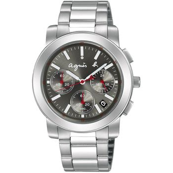 agnes b. 法國時尚運動三眼計時腕錶-銀x灰/38mm/BT3030X1 V654-KP30N