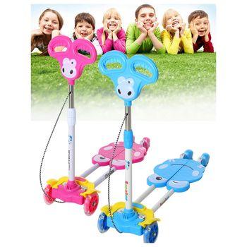 【孩子國】兒童四輪蛙式滑板車/剪刀扭扭車(音樂款閃光輪)