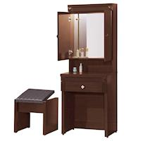 【顛覆設計】克雷布2尺胡桃色鏡台/化妝台(含椅)