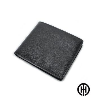 T.H.男仕館 頭層牛皮10卡層上翻壓紋短夾(黑色)