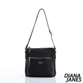 Diana Janes 尼龍 帆布配皮斜背包-黑