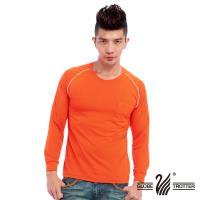 【遊遍天下】MIT中性款吸濕排汗抗UV長袖圓領衫L038(桔色)