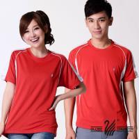 【遊遍天下】MIT台灣製中性款圓領吸濕排汗機能衫S079(紅色)