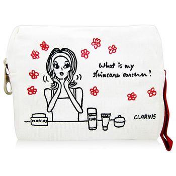CLARINS克蘭詩 插畫女孩帆布化妝包
