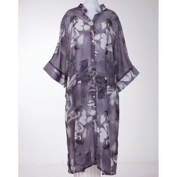黛莉克絲親膚絲棉長版灰罩衫