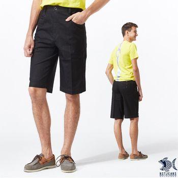 【NST Jeans】Classic Bk 夏日黑丹寧 英文側帶 鬆緊帶短褲(中腰鬆緊修身版) 393(25853)