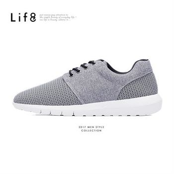 Life8-MIT。三色網布。除臭鞋墊。雙材質太空運動鞋-09480-黑色