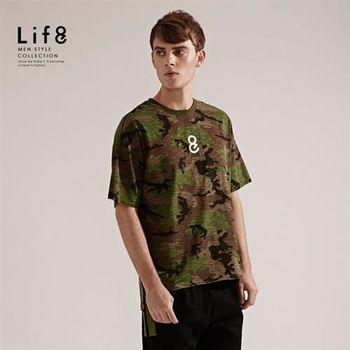 Life8-Casual 迷彩ARMY 竹節棉質寬版上衣-03815-迷彩