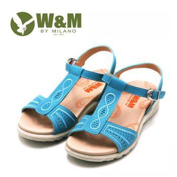 W&M 圖騰刺繡寬帶涼鞋 女鞋-藍