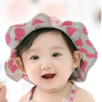 童帽 寶寶遮陽帽 DL韓版嬰兒 漁夫帽 寶寶防曬帽 太陽帽 公主草帽 花邊帽 (帽圍48-50cm) 【JD0048】