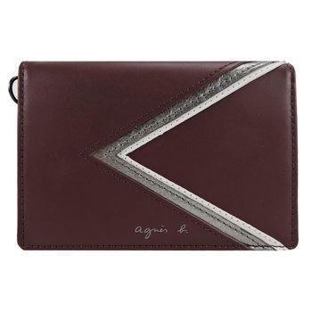 agnes b. 燙銀logo三角幾何證件夾-酒紅