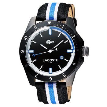 Lacoste 鱷魚 時尚玩家腕錶 黑x雙色版 44mm L2010699