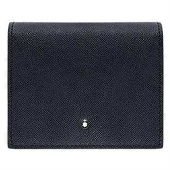 MONTBLANC 萬寶龍十字紋3卡零錢包短夾-黑 116386