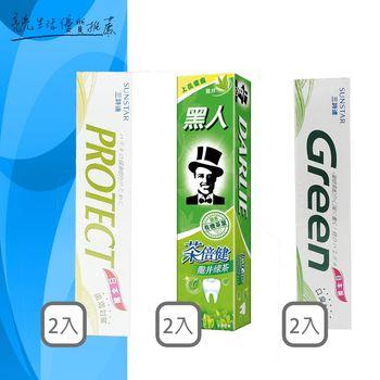 日本三詩達-新葉綠素牙膏 160g*2+牙齦護理牙膏-天然鹽150g*2+黑人茶倍健牙膏160g*2