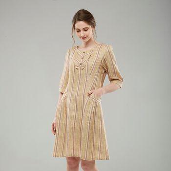 FIORE花蕾純麻彩色細條紋七分袖長洋裝